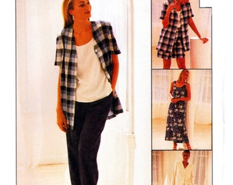 90s McCall's 8178 Separates: Pullover Dress, Boxy Jacket, Pull-On Pants or Shorts, Uncut, Factory Folded, Sewing Pattern Size 10-14