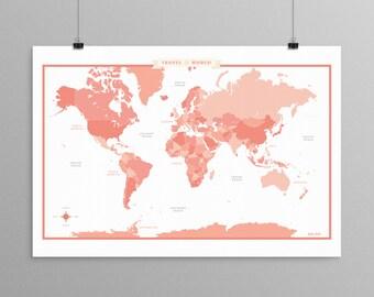 World Map - Peach Pink - a Scandinavian modern design print // 13x19 // mid century modern map // kids room wall art // kids room decor