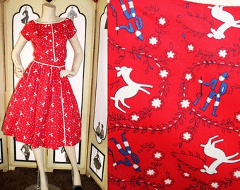 Vintage Shirt Dress. Two Piece Set in Hunting Scene. Albino Deer and Huntsman. XS to Small.