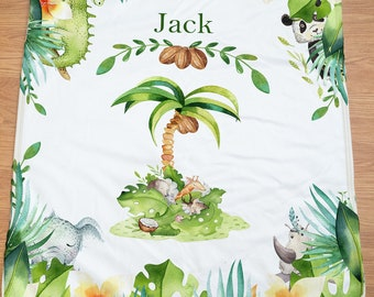 Personalized Baby Blanket Tropical baby gift Stroller blanket baby shower gift
