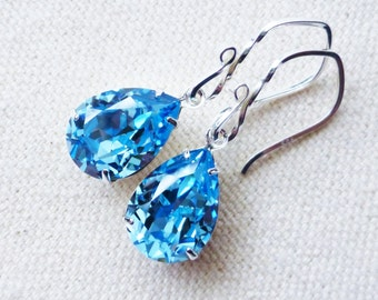 Aquamarine Blue Earrings, Swarovski Rhinestone Pear Earrings, Sterling Silver, Light Blue Crystal Teardrops, Under 30, Bridesmaids Jewelry