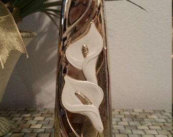 Goldtone Metal Bud Vase  6.5 X 2 inch