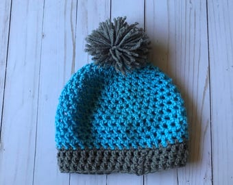 Blue crochet pompom hat