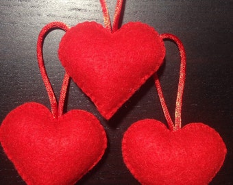Red felt heart ornament, Mother's Day