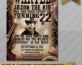 Wanted Invitation - Cowboy Invitation - Western Invitation Printable - Custom Wanted Poster