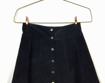 Suede Front Button Mini Skirt