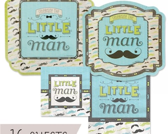 Dashing Little Man Mustache Party Tableware Kit - Baby Shower or Birthday Party Plates and Napkins Party Kit - 16 piece place setting