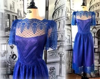 70s Stunning Royal Blue Dress - Floral / Diamond Tulle over Satin - Tea Length - Size SMALL