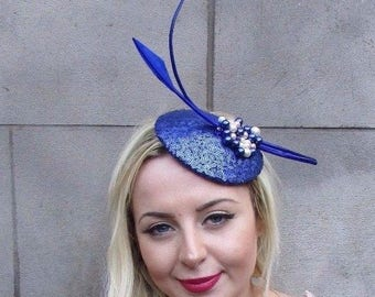 Royal Blue White Cream Feather Fascinator Hair Clip Pillbox Races Formal 4684