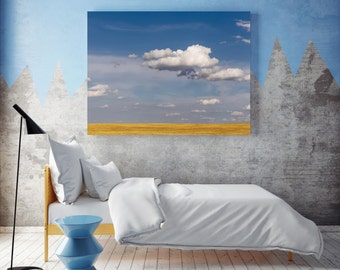 texas photography, canvas gallery wrap, landscape photography, texas landscape, cloud photography, prairie photography, large wall art, blue