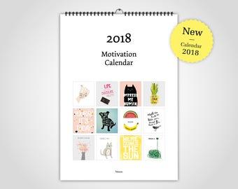 Motivation / Wandkalender 2018, Kalender, Jahresplanner, Abreißkalender, minimalistisch, Poster, skandinavisch, Spruch, Motivation, Schrift