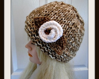 KNITTING PATTERN, knit hat pattern, hat knitting pattern, Unisex Chunky Beanie, #1020,  and knitted flower-  all sizes from 2 yrs to adult.