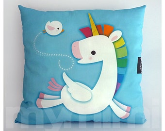 "12 x 12"" Toy Pillow, Decorative Pillow, Rainbow, Unicorn Pillow, Pegasus, Cotton Pillow, Throw Pillow, Girls Room Decor, Nursery Pillow"
