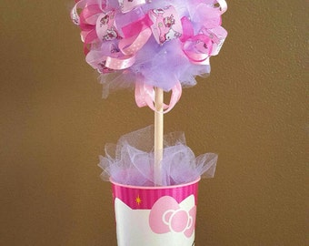 Birthday Party Centerpiece Ribbon Topiary Nursery Room Decor Baby Bridal Shower Gift!  Tulle & Ribbon!