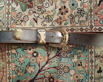 Vintage Style Bronze Coloured Belt With Golden Accents