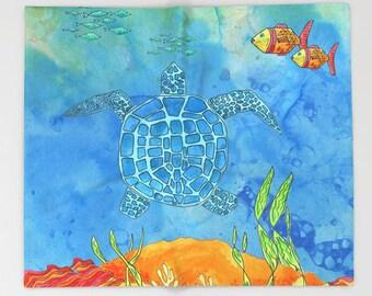 Sea Turtle Blanket - turtle fish, undersea - Ocean reef, surf, coastal, undersea turtle, animals, blue, comfy fleece throw blanket