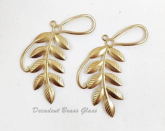 6 pcs. - Raw Brass Leaf, Leaf Spray, Brass Leaves, Leaf Charm, Headpiece Supply, Wedding Supply, Raw Brass Stamping, 36mm x 40mm (r325)