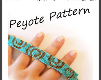 Small Swirls Peyote Pattern Bracelet - For Personal Use Only PDF Tutorial , small peyote stich tutorial , circle geometric bracelet