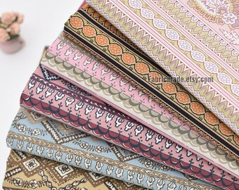Vintage Paisley Flower Floral Stripes Cotton Fabric - 1/2 yard