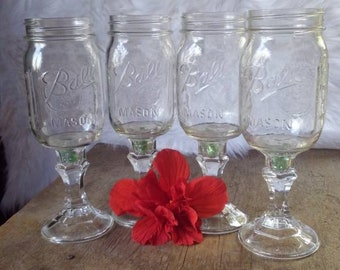 Set of 4 mason jar wineglasses, summer time drinking, wine, glasses, marbles, rustic, redneck wine glass , gift ideas, women's gifts