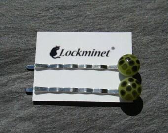 2 hair pins Bobby pins light green with black dots