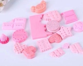 5 cabochon fake pink kawaii cupcake