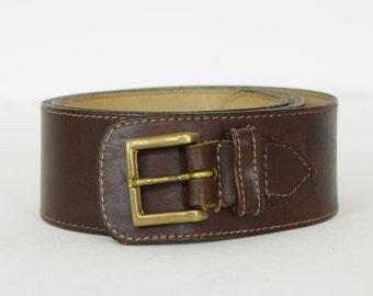 Kenzo Paris 1980s - 1990s Vintage Brown Leather French Designer Women's Waist Belt