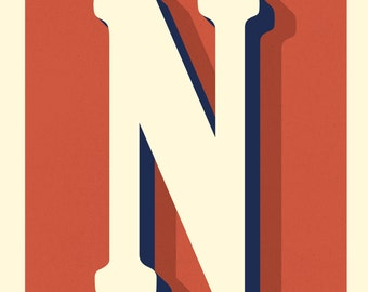The Letter N, Original Art Print, Typography, Alphabet, Red, Midnight Blue, Cream