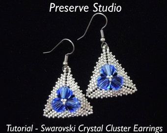 Swarovski Crystal Cluster Earrings, Crystal Earrings, Earring Tutorial, Seed Bead Tutorial