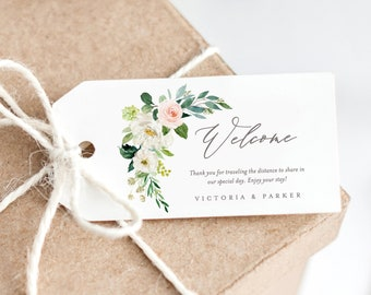 Editable Template - Instant Download Spring Romance Wedding Welcome Gift Tags