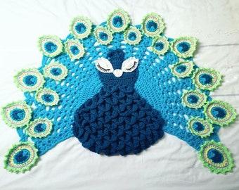 Crocheted Peacock Rug / Throw / Play Mat