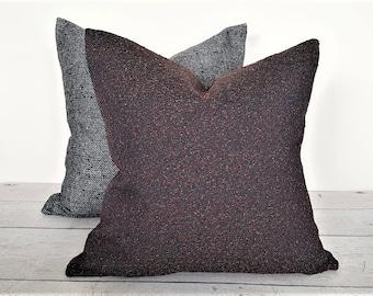 Dark Pillows, Purple Pillows, Dark Blue Pillow, 18x18, Couch Pillow Cover, Speckled Flecks, Red Rust Green Gold, Textured, Mens Throw Pillow