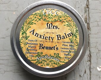 Mrs. Bennet's Anxiety Balm - An all natural calming and relaxing herbal remedy for anxiety relief Calm Balm Sleeping Balm Calming Balm