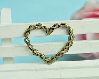 10pcs Antique Bronze Twisted Love Heart Charms Connector 34x28mm MM337
