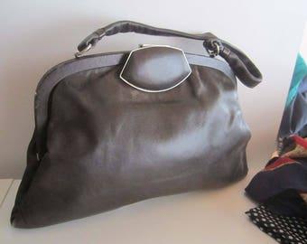 Vintage 50s leather bag rockabilly handbag