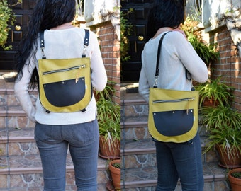 Leather backpack,leather bag,leather purse,yellow leather purse,yellow  backpack,zippered bag,leather purse,convertible,pink bag,handbag