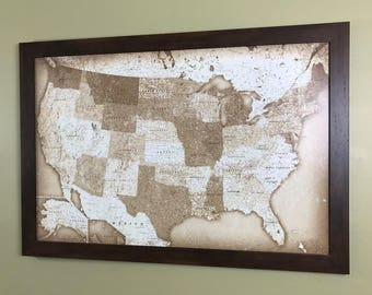 Personalized Vintage Style United States Push Pin Map With Brass Plate