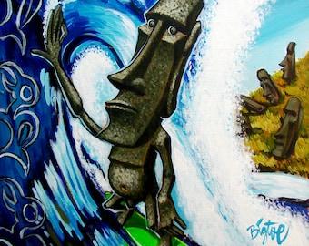 BigToe's Moai Shack Medium archival art print