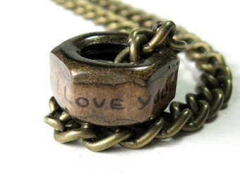 Gifts For Guys Men Dudes Him, Mens Accessories, Steampunk, Antiqued Brass Industrial Chic Hex Nut Necklace, Boyfriend Gift, Husband Gift