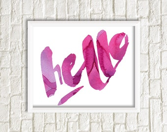 Printable Art Hello pink and White Print Typography Art Print Gallery Wall Print
