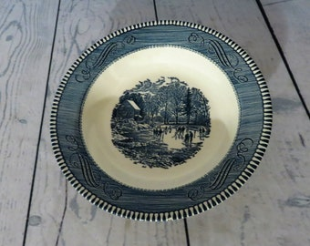 Currier and Ives Early Winter Soup Bowl, Royal China, Blue and White Transferware, 1960's Kitchen, Vintage Blue and White China