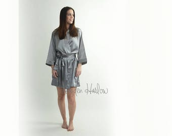 Dolphin Grey Lux Satin Robe -Bride Bridesmaid Flowergirl Gift-Monogrammable | sizes 0-26 standard or petite, child sizes