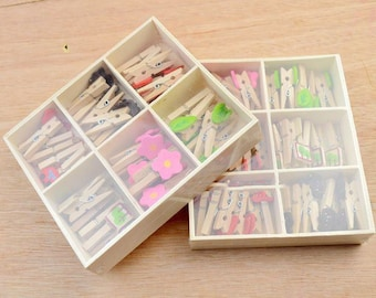 Multi Designs Wooden Clothespins & Storage Box