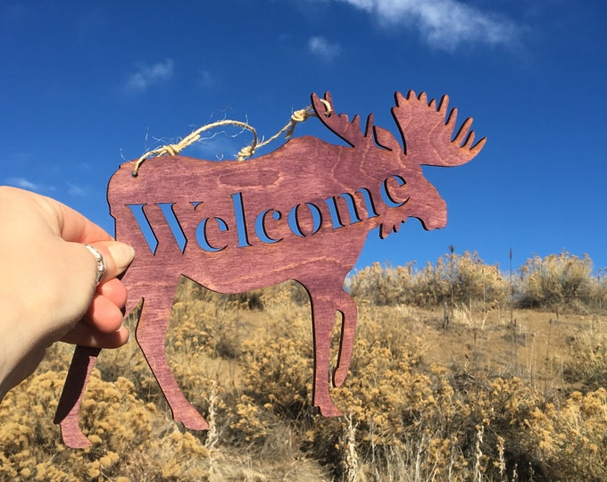Moose - Welcome Sign - Moose Welcome - Rustic Moose Decor - Moose Gift - Nature Wall Hanging - Cabin Decor - Purple Moose - Nature Decor