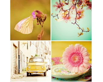 Spring Photography Set, Colorful Home Decor Set of 4 Photos, Nature, Travel Wall Art, Fiat, Butterfly, Flower Decor,Summer Art Set, SAVE 30%
