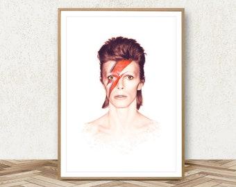 David Bowie Print - David Bowie Poster Music Poster David Bowie Art Painting Ziggy Stardust Poster David Bowie Wall Art Photo Music Art