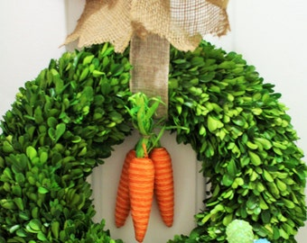 20  inch Easter Egg Wreath, Boxwood Wreath ,Natural  Dried Boxwood wreath ,Carrot &Egg Wreath . Spring Wreath, Summer Wreath