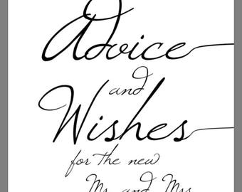 PRINTABLE 8x10 Advice and Wishes for the new Mr. And Mrs. Wedding Sign with Swashes