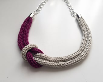 Purple and beige tricot necklace with sailor knot