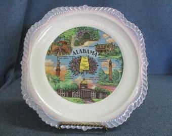Alabama Plate with Blue Trim 1950's